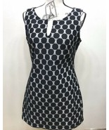 Le Chateau Women's Polka Dot Tunic Top Sleeveless Black White M - $28.05