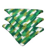 "3 Crocheted Dishcloths, Variegated Greens ""JuneBug"" Handmade - $6.69"