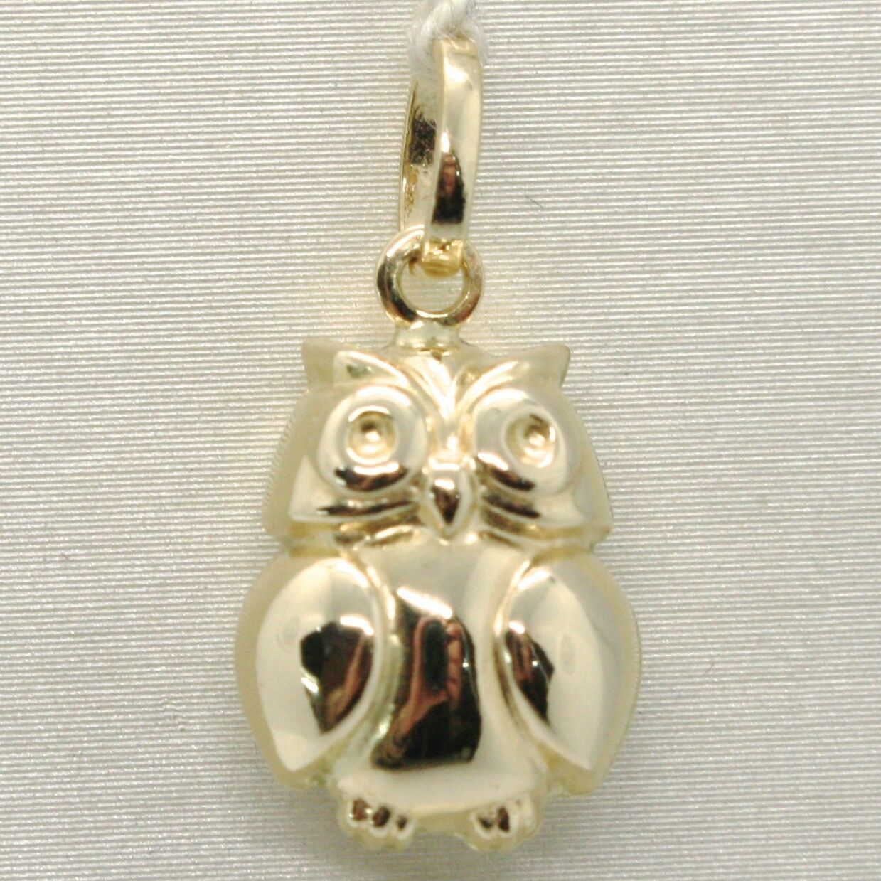 18K YELLOW GOLD ROUNDED LUCKY OWL PENDANT CHARM 22 MM SMOOTH MADE IN ITALY