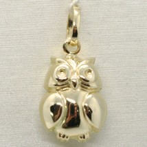 18K YELLOW GOLD ROUNDED LUCKY OWL PENDANT CHARM 22 MM SMOOTH MADE IN ITALY image 1