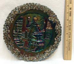 Fenton Plate Blue Carnival Glass Blacksmith James Read Jamestown 1607 19... - $16.82