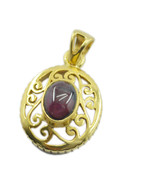 delicate Garnet Gold Plated Red Pendent Natural freely US gift - $14.84