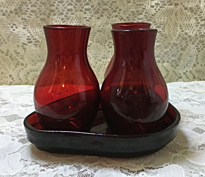 Vintage Ruby Red Miniature Glass Vase Set with Tray Floral Centerpiece Vanity