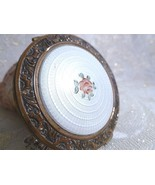 Evans Guilloche Vintage Compact Beautiful Golden Trim White With A Pink ... - $85.00