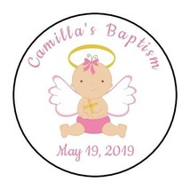 30 Personalizd Baptism Christening party stickers labels favors girl pin... - $8.99