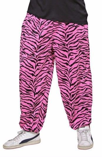 Gents 80's Baggy Trousers - Sport / Rock Star /  Hip Hop - Pink / Black