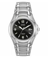Citizen Eco-Drive Men's BM6060-57F Dress Black Dial Titanium Bracelet Da... - $132.75