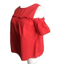 Democracy Red Ruffle Cold Shoulder Top Fringe Hem Small Short Sleeve Small - $15.83
