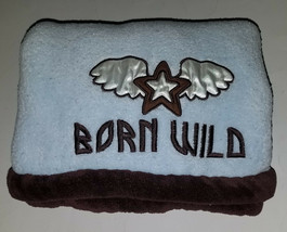 Tiddliwinks BORN WILD Blue Brown Baby Fleece Security Blanket Lovey Star Wings - $29.65