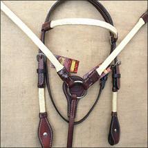 4-SET HILASON WESTERN RAWHIDE BRAIDED AMERICAN LEATHER HORSE HEADSTALL B... - $89.24