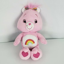 "Care Bears 2007 Plush Pink Rainbow Cheer Bear Stuffed Animal Toy 10"" - $16.82"