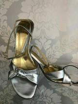 KATE SPADE Silver Metallic Leather Ankle Wrap Heels/Sandals Sz 8 $198 - $79.10