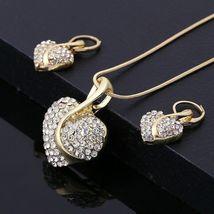 Women's Heartshaped Cut Crystal Gold Pendant Necklace Jewelry Set