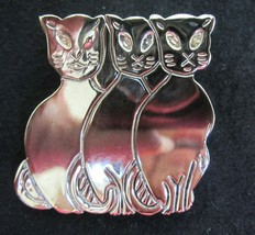 Vintage Silver 3 Three Cats Pin Brooch - $19.79