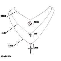 Exquisite Cross Angel Heart Crystal Multilayer Silver Necklace Fashion Lady Wedd - $9.78