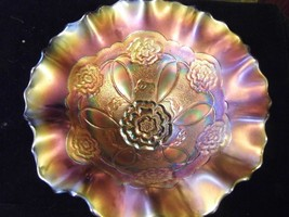 Antique DUGAN Double Stem Rose Domed Footed Ruffled Carnival Glass Bowl ... - $80.66