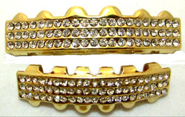 Hip Hop Iced CZ 14K Gold Plated Mouth Grillz Upper & Lower Set 6 Rows of... - $9.49
