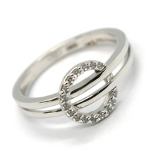 SOLID 18K WHITE GOLD DOUBLE TUBE BAND RING WITH CENTRAL CUBIC ZIRCONIA CIRCLE image 1