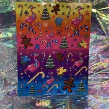 Lisa Frank Christmas Holiday Complete Flamingo Gingerbread Candy Sticker Sheet image 3