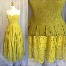 ASOS Ladies Mustard Yellow Lace 50s Retro Corset Prom Strapless Dress Uk... - $91.63