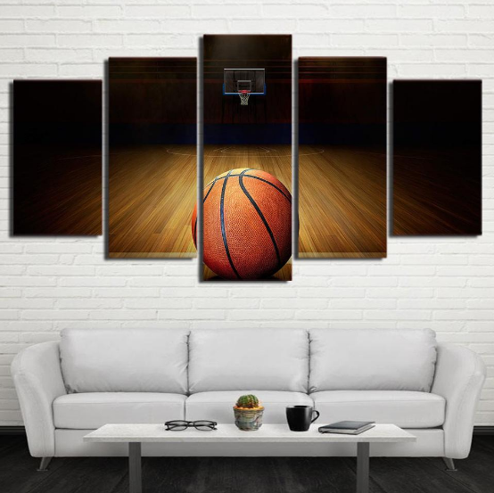 Basketball Sports Canvas Wall Art For Boys Bedroom Decor: Framed 5 Piece Basketball Course Sports Canvas Art Wall