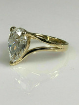 14k White Gold Finish 2.50 Ct Pear Cut Solitaire Band Women's Engagement... - $89.09
