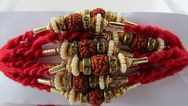 Aru Rakhi In Gold Tone Clear Crystals With Rudraksh & Natural Pearl By T... - $5.44