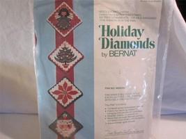 4 Needlepoint Ornaments Kit Holiday Diamond Vtg Bernat Hanging Factory S... - $8.86
