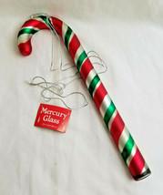 Mercury Glass Candy Cane Ornament Handpainted Handblown Oversize Departm... - $39.95