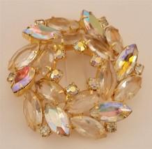 Juliana D&E Beautiful Aurora Borealis Rhinestone Wreath Brooch  ES-268 - $44.54