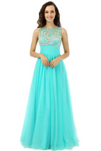 Cheap Tulle Mint Prom Dresses Long, Formal Dress,Evening Gown, Party Dress  - $169.00