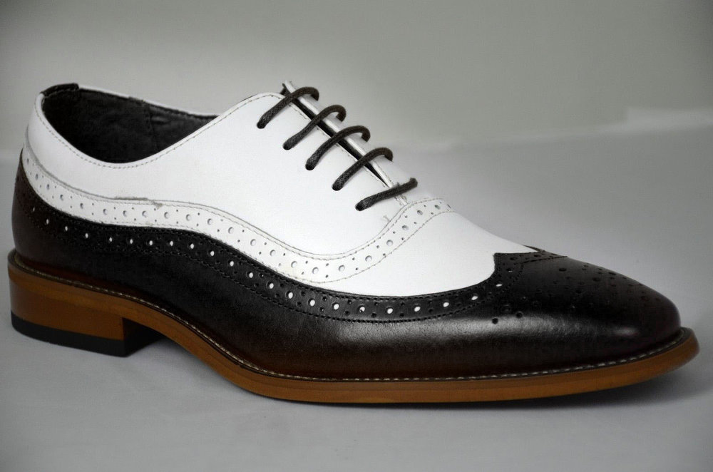 Handmade Men's Black & White Wing Tip Brogues Dress/Formal Oxford Leather Shoes