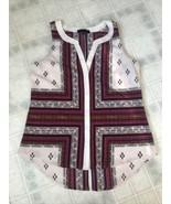 Sanctuary Clothing Womens Medium Tank Top Navy Blue red tribal Pattern V... - $17.59