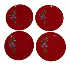 "4 Tracy Porter JOLLY OL' SNOWY Sugar Plum Red 8"" Salad / Dessert Plates ... - $39.99"