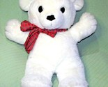 """VINTAGE 30"""" DAKIN CUDDLES 1980 TEDDY BEAR WHITE WITH RED PLAID RIBBON LARGE TOY - £101.44 GBP"""