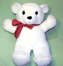 "Vintage 30"" Dakin Cuddles 1980 Teddy Bear White With Red Plaid Ribbon Large Toy - $148.50"