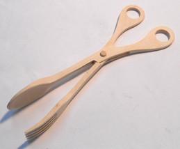 Wooden Salad Scissors BBQ Tongs Spaghetti Serving Utensil - $13.91