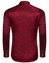 COOFANDY Men's Floral Long Sleeve Shiny Satin Silk Burgundy Dress Shirt - Large image 3