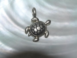 Estate Carved Pewter or Silvertone Sea Turtle Ocean Life Charm Pendant –  - $8.59