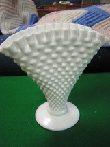 """Beautiful Milk Glass Hobnail Fan VASE...7.5"""" Height..................Sale - $13.86"""