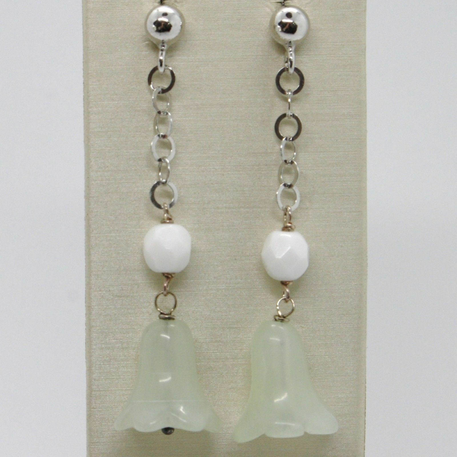 Silver Earrings 925 Tried and Tested Hanging with Jade Green to Bell Campanula