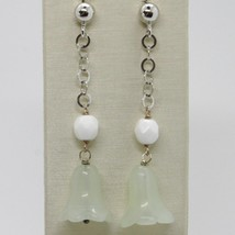 Silver Earrings 925 Tried and Tested Hanging with Jade Green to Bell Campanula image 1