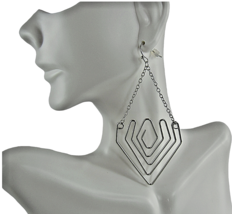 Mia Fashion Jewelry Faux Silver Triangular Drop Chain Earrings - Lot of 36 - $71.28
