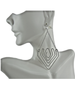 Mia Fashion Jewelry Faux Silver Triangular Drop Chain Earrings - Lot of 36 - $71.28