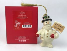 Lenox 2017 Snowman Figurine Ornament Annual Let It Snow Christmas Gift NEW image 3
