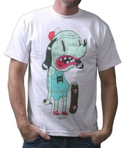 Im King Hommes Blanc Ou Rouge Skateboard Drunkies Chien T-Shirt USA Fabriqué Nwt