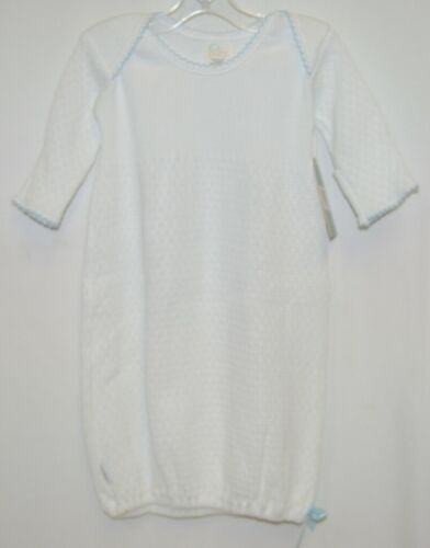 Paty Inc 1153B Long Sleeve Lap Shoulder Gown White With Blue Trim Size 3 Months