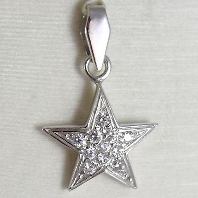 WHITE GOLD PENDANT 750 18K, PENDANT STELLA, WITH ZIRCON, LONG 2.4 CM