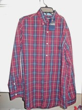 Chaps Easy Care Button Up Maroon Blue Plaid Mens Sz S Ret $55 Shirt NEW Long Slv - $27.10