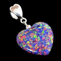 Alducchi Royal Lavender Rainbow lab Opal Puffy Heart .925 Silver Dangle ... - $46.95